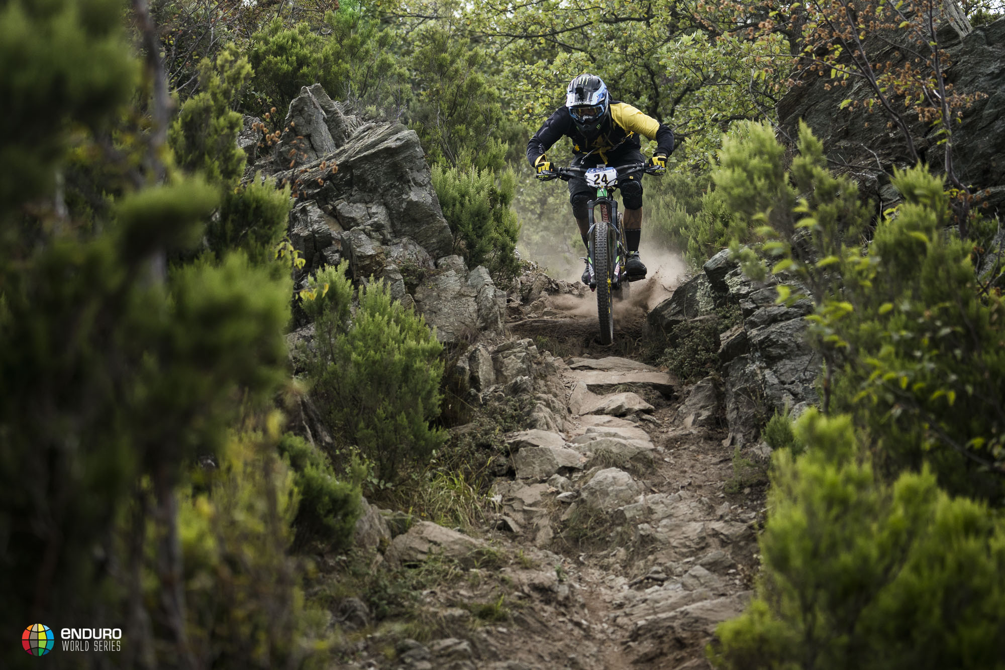 Sam Hill charging kicking up the dust.